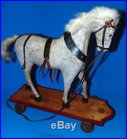 14 inches early 1900 German pulltoy wood wooden HORSE on platform RARE WHITE