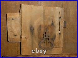 19thC EARLY OLD ORIGINAL RARE FOLK ART IRON LEVER BARN DOOR LATCH & KNOB HANDLE