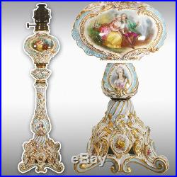 28.35 tall rare hand painted French porcelain Lamp, late19th to early 20th