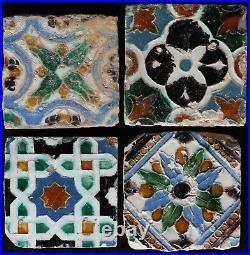 4 rare early Spanish hispano moresque Arista tiles Seville 16Th Century
