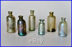 6 early and rare Dutch Medicine-bottle vial, all 1650 1700