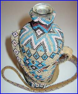 AMAZING antique OTTOMAN handmade beaded bottle early 1900's rare folk art POW