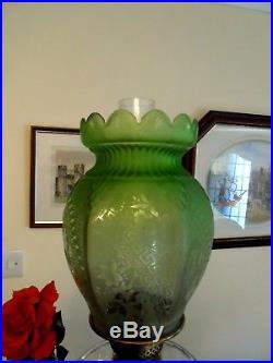 A Beautiful Rare Early Victorian Green Etch Twin Duplex Oil Lamp Shade