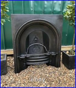 A Rare Early Victorian Antique Cast Iron Arch Insert Fireplace circa 1850