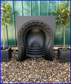 A Superb Rare Early Victorian Antique Cast Iron Arch Insert Fireplace circa 1890