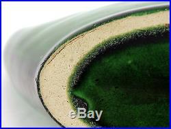 A rare and early Hoganas green frog bowl. Swedish Art Nouveau. 1890-1910