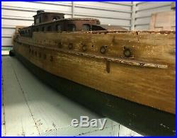 American Folk Art RARE LG Wood Ship Model Early 20th C Cruise Ship