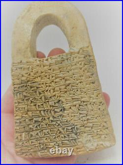 Ancient Near Eastern Clay Tablet With Early Form Of Writing & Worshipper Rare