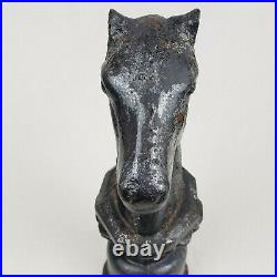Antique 1800s Early Cast Iron Horse Head Hitching Post Rare Style 25 lbs 14 in