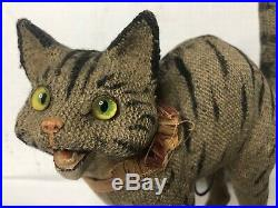 Antique Cat Pull String Toy Reverse Painted Glass Eyes Frightened Cat Rare Early