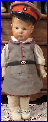Antique EARLY14 Kathe Kruse Extremely Rare ALL Original Potsdamer Soldier Doll