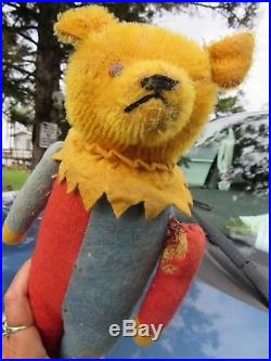 Antique Early 14 Teddy Bear Vintage Rare 1920 Toy Harlequin Jester Clown Doll