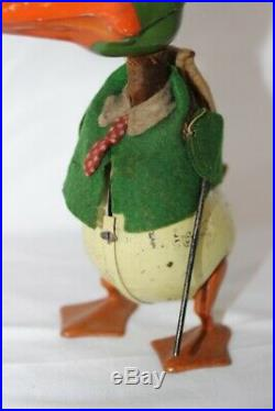 Antique Early 1930S SCHUCO DONALD DUCK Tin Wind Up Hand Painted Toy VERY RARE