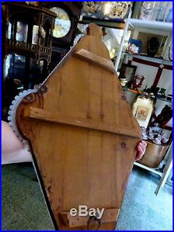 Antique Early 20th Century Opalescent Glass Venetian Wall Mirror Rare Shape