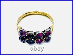 Antique Early 22ct Gold garnet ring. With Rare hallmark