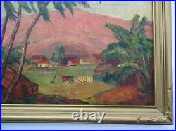 Antique Early California Landscape Painting Impressionist Rare Woman Wpa Style