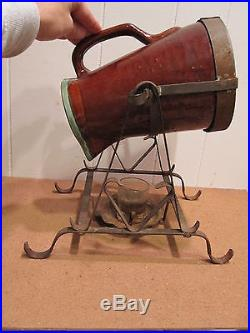 Antique Early Country Fare Louisville Pottery Coffee Pot Rare Burner Tilt Stand
