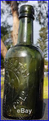Antique Early Glass 1880 Olive Green Rare Red Ruth Brewery Stout Beer Old Bottle