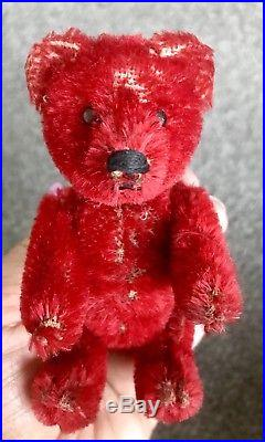 Antique Early Rare Schuco Jointed Miniature Mohair Teddy Bear Perfume Bottle Nr