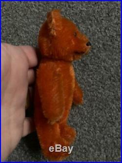 Antique Early Rare Schuco Jointed Miniature Orange Mohair Bear Perfume Bottle