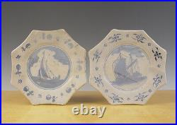 Antique Early Rare Set of 2 Dutch Delft Plates Ship Circa 1620 1640 Marked Exc