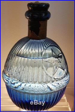 Antique Early Rare (star) Hand Grenade Fire Extingisher Blue Glass Old Bottle
