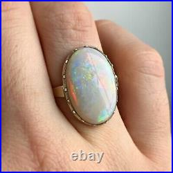 Antique Early Victorian Australian Opal Ring Rare And Incredible