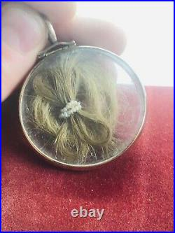 Antique Early Victorian Gold Cased Mourning Locket Double Sided 1850s Rare