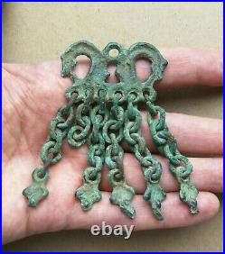 Antique Early Viking-age Zoomorphic Horse Heads Duck Feet Bronze Amulet Rare
