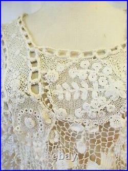 Antique Edwardian Irish Crochet Lace Blouse Early 1900s Ivory 38 Bust Rare