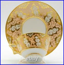 Antique Flight Barr & Barr tea cup peach ground gold gilt Rare early 1800's
