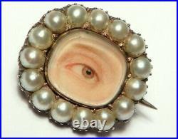 Antique GEORGIAN Rare LOVERS EYE Pearl Miniature Brooch Circa 1700/early 1800's