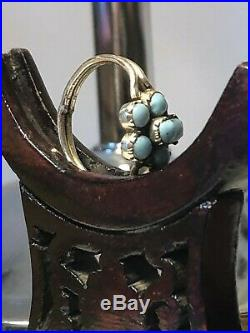 Antique Georgian Gold 9ct Cluster Ring Early 1800s Rare Collectable