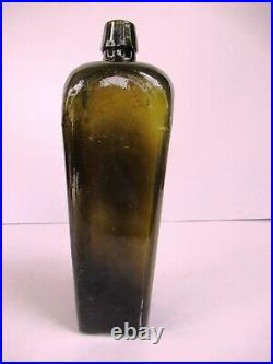 Antique Gin Glass Bottle Olive Green Color Early Hand Blown Collectibles RareF7