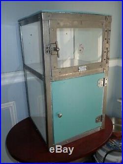 Antique Noonan Medical Cabinet Early Model Glass Sides Rare Enamel Badge Barber
