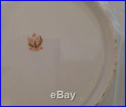 Antique RS Prussia large serving bowl gold gilt old rare icicle mold #30 early