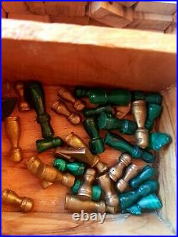 Antique Rare Chess Set Wooden Malachite Bronze figures and other game in box