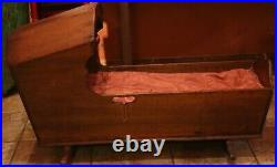 Antique Rare Early 1800's Walnut Hooded Baby Cradle Great for Doll or Teddy Bear