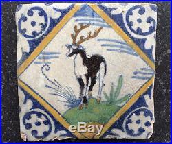 Antique Rare Early Delft Maiolica Tile Deer Circa 1600-1625 Kwadraat Tegel