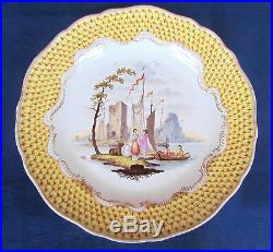 Antique Rare Early Meissen Porcelain Plate Harbor Scene Yellow Border c. 1814-60