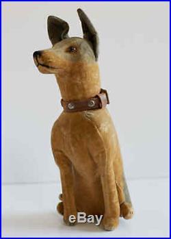 Antique Rare Velvet Whippet stuffed dog Early 1900s