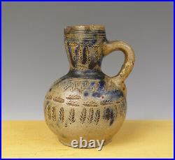 Antique Small Rare & Early German Westerwald/Raeren Jug Floral Circa 1600