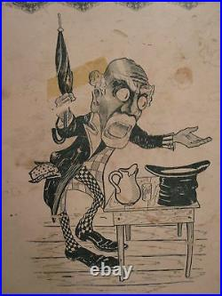 Antique Top Hat Black Memorabilia Poster Mens Couture Rare Early Collectible