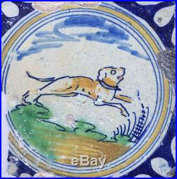 Antique Very Early Rare Dutch Delft Maiolica Tile Jumping Dog Late 16TH C