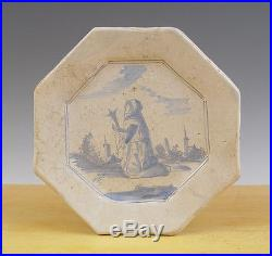 Antique Very Early Rare Dutch Delft Praying Woman Circa 1625 Excavated Crucifix