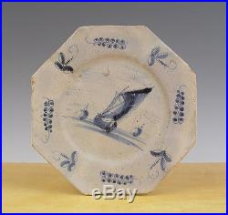 Antique Very Early Rare Octagonal Dutch Delft Plate Ships Circa 1625 Excavated