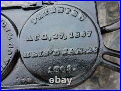 Antique & Very RARE Early Stuart Peterson 1869 Cast Iron Triple Pancake Griddle