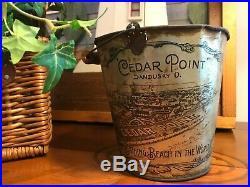 Antique Vintage Very Rare Cedar Point Litho Tin Sand Pail Bucket Early 1900's