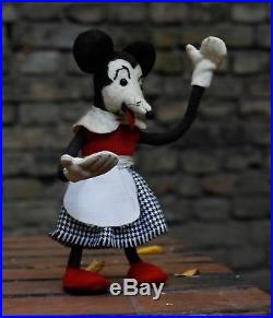 Antique early Minnie Mouse 19cm Wired Doll Figure disney Toy tongue mickey rare
