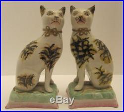 Antique early Staffordshire Cats Figures Alloa factory Scotland rare